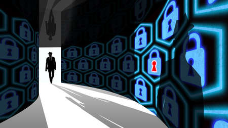backdoor: A silhouette of a hacker with a black hat in a suit enters a hallway with walls textured with padlocks 3D illustration cybersecurity concept