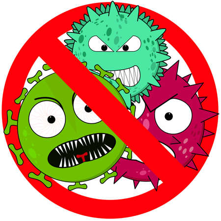 Anti virus sign with three different colored viruses in a stop sign
