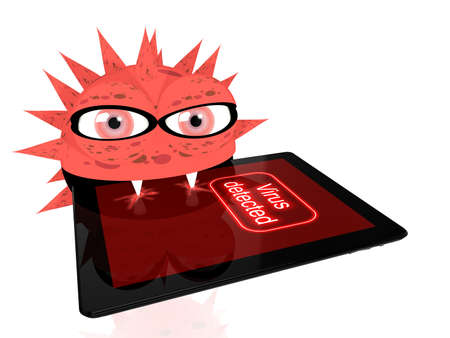 bites: Red virus bites into a digital tablet with the words virus detected on the screen 3D illustration