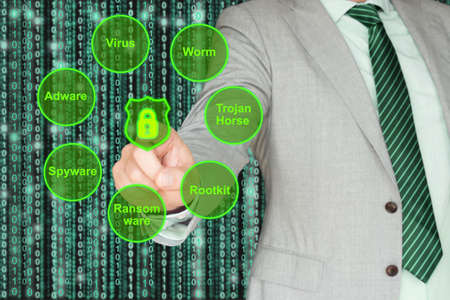 Businessman presses a glowing lock on the screen surrounded by various malware types