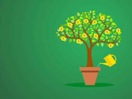 financial concept: A tree with coins in a pot getting water financial growth concept illustration on green