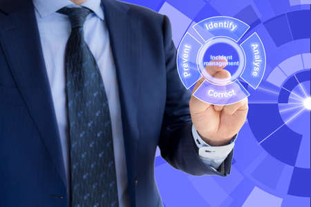 Hand of a businessman pressing the word incident management on blue background within the incident management cycle Foto de archivo