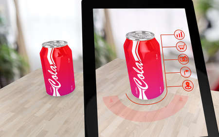 Augmented reality cola on a table scanned by a tablet with various options 3D illustration