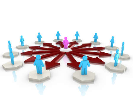 influencer: Circular network with a female in the center influencing a circle of men standing on white hexagon platforms 3D illustration Stock Photo