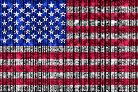 strains: American flag texture with digital zeros and ones strains glowing in the national colors