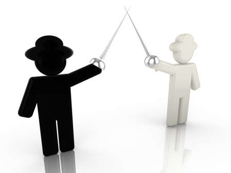 ethical: A black hat hacker is fencing with a white hat hacker 3D illustration internet security concept