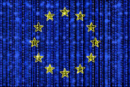 digital data: European flag texture with digital zeros and ones strains glowing in the blue background and yellow star circle