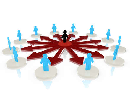 Hacker with black hat in the center of a circular network attacking people standing on platforms around him 3D illustration Stock Photo