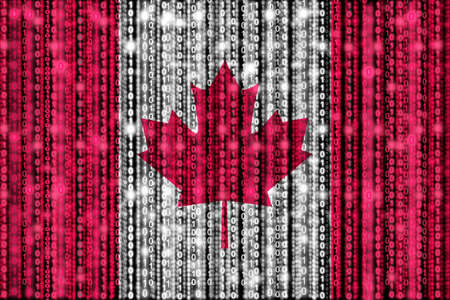 strains: Canadian flag texture with digital zeros and ones strains glowing in the national colors Stock Photo