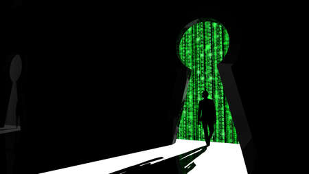 backdoor: Elite hacker entering a room through a keyhole silhouette 3d illustration information security backdoor concept with green digital background matrix
