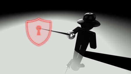 Black hat hacker piercing shield with a rapier showing cracks 3D illustration security breach concept Stock Photo