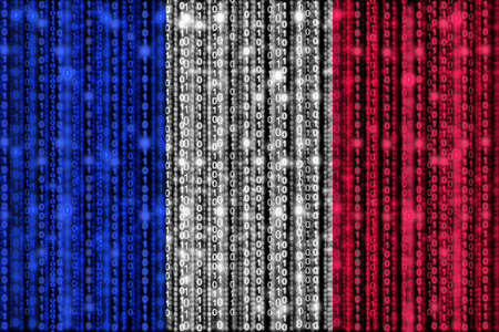 strains: French flag texture with digital zeros and ones strains glowing in the national colors