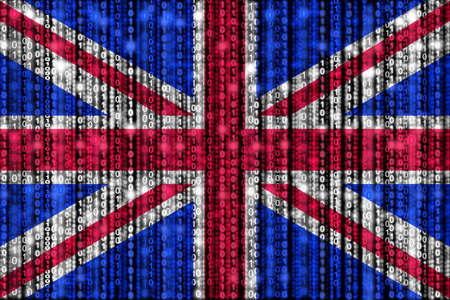 strains: British flag texture with digital zeros and ones strains glowing in the national colors Stock Photo
