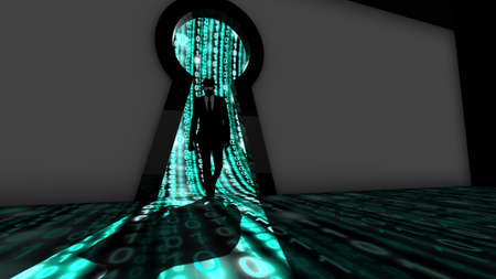 Elite hacker entering a room through a keyhole silhouette 3d illustration information security backdoor concept with turquoise digital background matrix