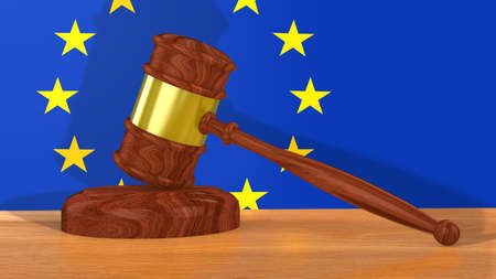 lawsuit: Brown golden wooden gavel on a table in front of a European flag 3D illustration Stock Photo