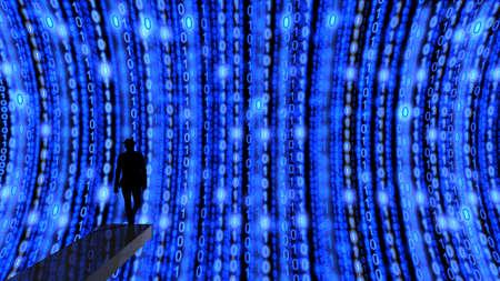 springboard: hacker de élite, en trampolín listo para sumergirse en una corriente de flujos de datos en la ilustración azul 3D Foto de archivo