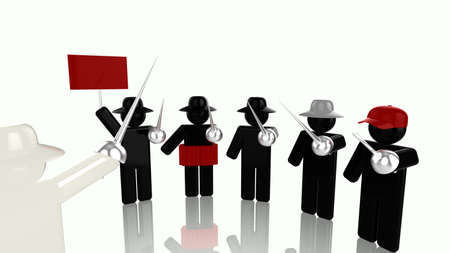 Different bad hacker, hacktivist,hacker,black hat,grey hat and script kiddie with rapier attacking one white hat 3D illustration