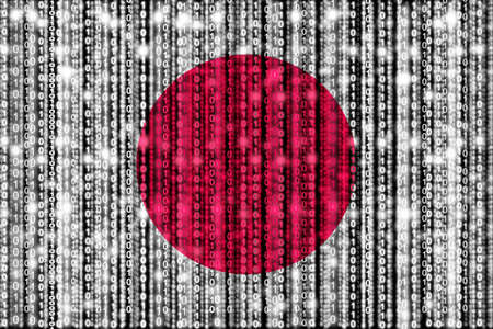 Japanese flag texture with digital zeros and ones strains glowing in the national colors