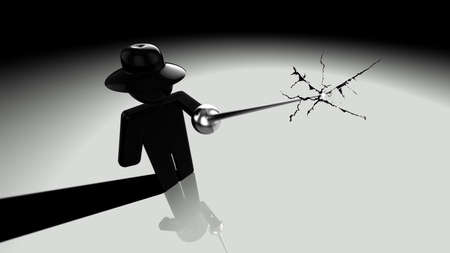 breach: Black hat hacker piercing the screen with a rapier showing cracks 3D illustration security breach concept