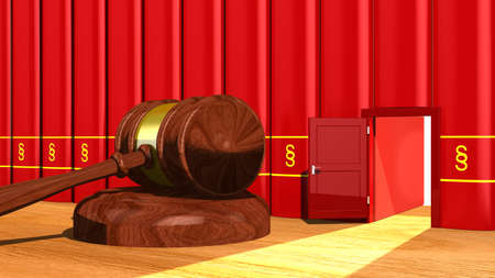 guilt: 3D illustration escape the law concept with a gavel on a table and a backdoor in a row of red books with a paragraph sign