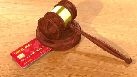 fraudster: Gavel with credit card inserted into the gavel plate 3D illustration
