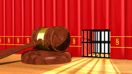 prison cell: 3D illustration justice concept with a gavel on a table and a prison cell in a row of red books with a paragraph sign