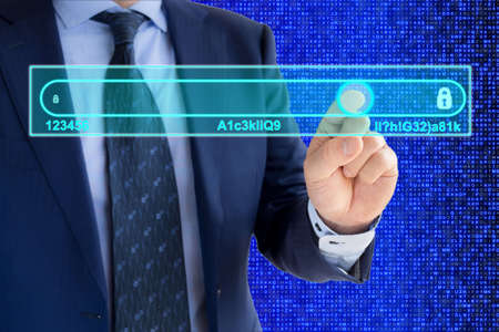 passwords: IT expert in a blue suit is moving a slider from insecure to secure passwords