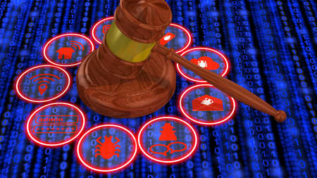 stick bug: IT security law concept 3D illustration wooden gavel in the middle of a ring with common IT security threats