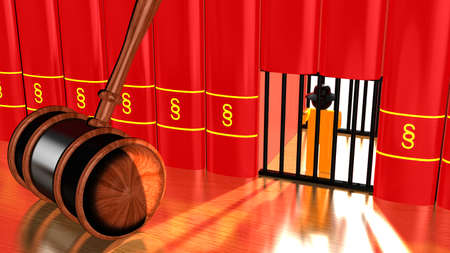 prison cell: 3D illustration justice concept with a gavel on a table and a prison cell in a row of red books with a paragraph sign and a hacker captured behind bars