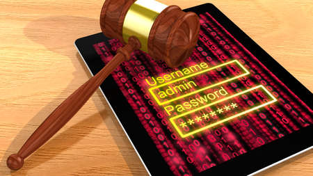 lawsuit: Gavel on a digital tablet with a red digital background screen and a password entry 3D illustration cybercrime concept closeup Stock Photo