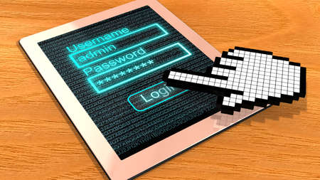 clicked: Tablet with login screen on a wooden table clicked by a pixelated cursor hand 3D illustration Stock Photo