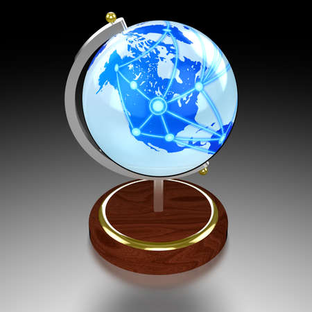data centers: 3D illustration globe textured with a light blue world map with interconnected data centers Stock Photo