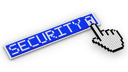activate: Pixel cursor hand clicks on padlock in a security sign of pixels 3D illustration