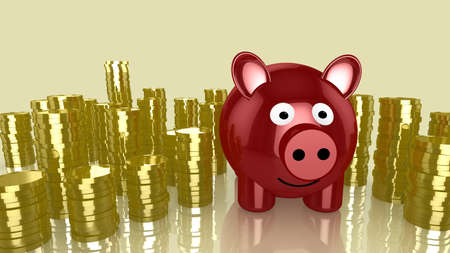 piggybank: Red smiling piggybank with piles of golden coins around 3D illustration money saving concept Stock Photo