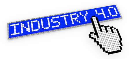 clicked: Industry 4.0 3D illustration blue sign composed of little cubes pixel design clicked by a pixel hand cursor Stock Photo