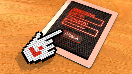 cursor hand: Tablet with login screen on a wooden table clicked by a pixelated cursor hand with hacker symbal the slider 3D illustration