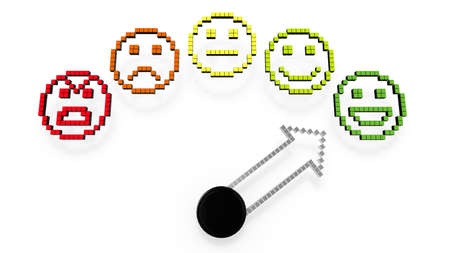 green face: A gauge with five smileys from bad to excellent and arrow pointing at green face 3D illustration