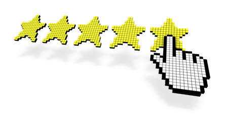 3d cursor: Pixel cursor pressing yellow fifth star of performance rating on white background 3D illustration Stock Photo
