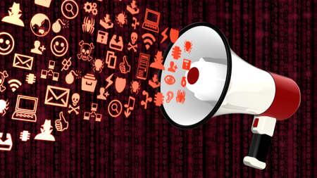 threats: White megaphone emitting icons of common information security threats 3D illustration