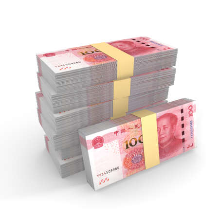 rmb: Small pile of chinese rmb isolated on white 3D illustration