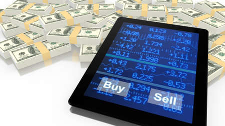 sell online: Tablet leaning on a pile of USD with a blue stock ticker screen with buy and sell button online trading 3D illustration