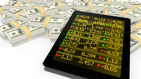 online trading: Tablet leaning on a pile of USD with a yellow stock ticker screen online trading 3D illustration Stock Photo