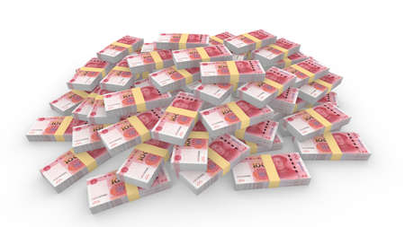 renminbi: Huge pile of random Chinese 100 RMB bills isolated on white 3D illustration