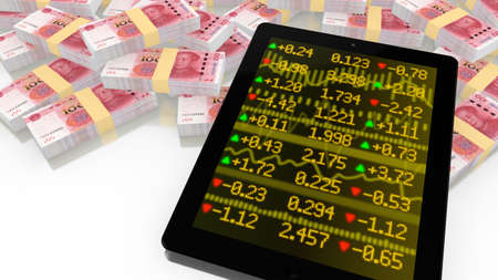 stock exchange brokers: Tablet leaning on a pile of chinese RMB with a stock ticker screen online trading 3D illustration