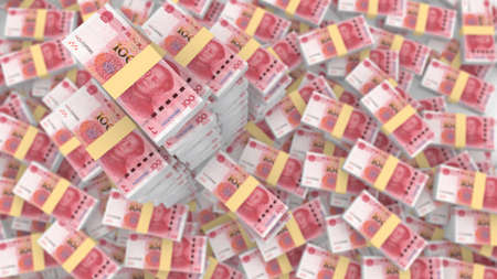 renminbi: Huge pile of random Chinese 100 RMB bills with three very huge piles standing outfrom the blurry background 3D illustration Stock Photo
