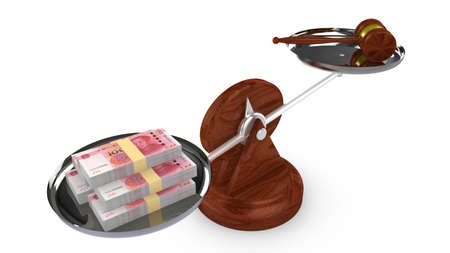 isolated illustartion: Balance with Chinese RMB on one side and a gavel on the other 3D illustration Stock Photo