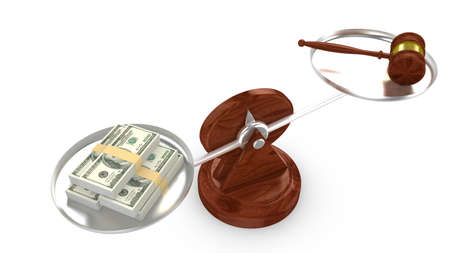 judgments: Balance with dollar on one side and a gavel on the other 3D illustration Stock Photo
