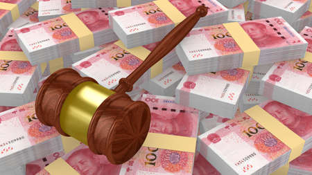 Gavel on a huge pile of Chinese yuan 3D illustration