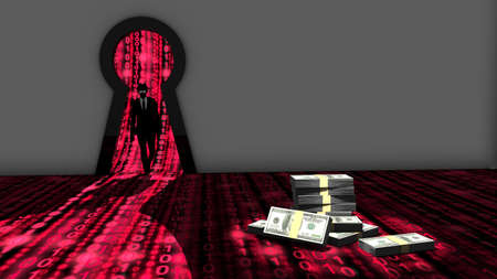backdoor: Elite hacker entering a room through a keyhole to steal money silhouette 3d illustration information security backdoor concept with red digital background matrix