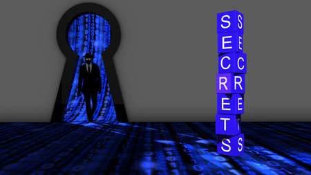 an elite: Elite hacker entering a room through a keyhole to steal secrets silhouette 3d illustration information security backdoor concept Stock Photo